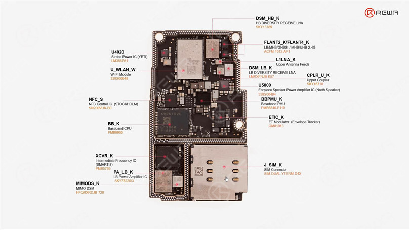 iPhone 11 Pro Motherboard Chips Distribution